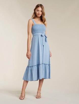 Ever New Jen Shirred Stripe Denim Midi Dress
