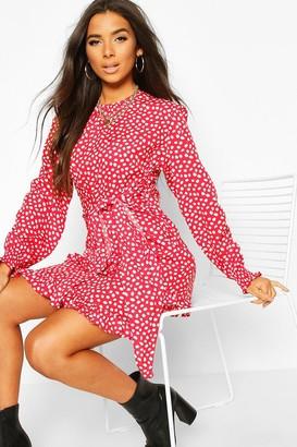 boohoo Woven Polka Dot Double Ruffle Hem Shift Dress