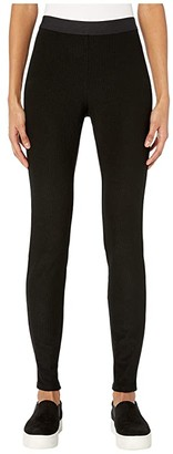 Eileen Fisher Tencel Stretch Ridge Leggings (Black) Women's Casual Pants