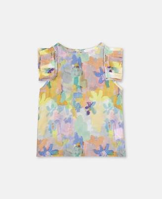 Stella Mccartney Kids Stella McCartney paint flowers cotton silk top