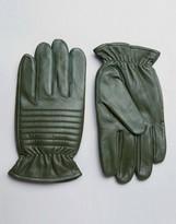 Barney's Originals Barneys Leather Biker Gloves in Khaki