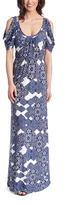 Glam Blue Geometric Cutout Maxi Dress