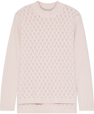 Iris & Ink Primrose Pointelle-knit Wool-blend Sweater