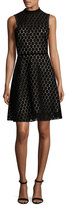 Shoshanna Sleeveless Velvet Polka-Dot Cocktail Dress, Black