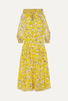 Eywasouls Malibu Monique Off-the-shoulder Shirred Floral-print Chiffon Maxi Dress - Yellow