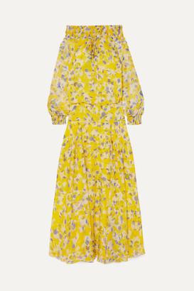 Eywasouls Malibu Monique Off-the-shoulder Shirred Floral-print Chiffon Maxi Dress - Yellow