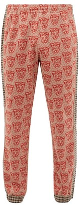 Gucci Tiger-jacquard Cotton-blend Track Pants - Mens - Red Multi