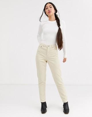 Topshop cord mom jeans in stone-Cream