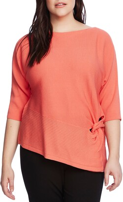 Vince Camuto Twist Dolman Sleeve Ribbed Asymmetrical Top