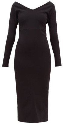 A.W.A.K.E. Mode Non Monroe Off-the-shoulder Cady Dress - Womens - Black