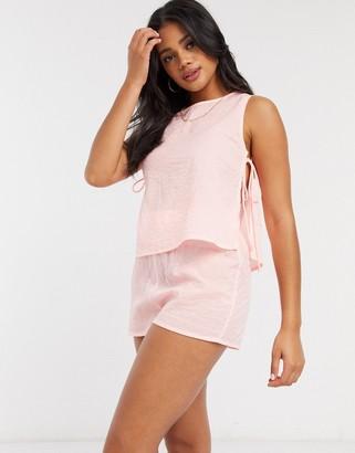 ASOS DESIGN mix and match seersucker pyjama short in coral