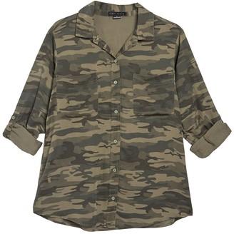 Sanctuary Camo Print Front Button Shirt (Regular & Petite)
