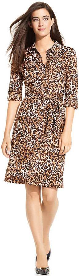 Charter Club Dress, Three-Quarter-Sleeve Animal-Print Shirtdress