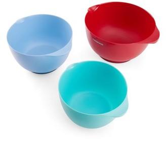 Baker's Advantage Bakers Advantage Set of 3 Plastic Mixing Bowls, Assorted Colors