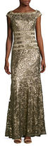Tadashi Shoji Sequined Boat Neck Lace Gown