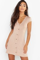 boohoo Petite Cap Sleeve Button Polka Dot Shift Dress
