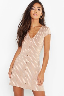 boohoo Petite Cap Sleeve Button Polka Dot Shift Dress