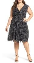 London Times Plus Size Women's Dot Mesh Ruched Waist Dress