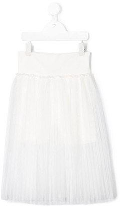 MonnaLisa Pleated Mesh Skirt