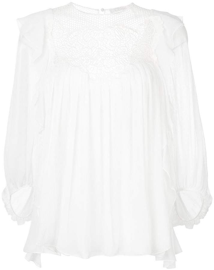 Chloé lace ruffle yoke blouse