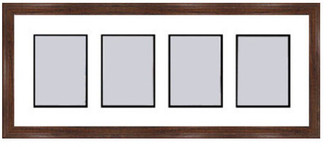 Frames By Mail Walnut Collage Picture Frame w/ 4 rectangle openings for 3.5 X 5 photo