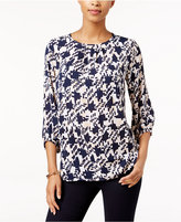 Charter Club Houndstooth-Print Top, Only at Macy's