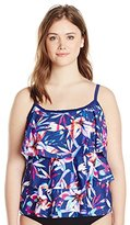 Maxine Of Hollywood Women's Plus-Size Lily Pop Tiered Tankini