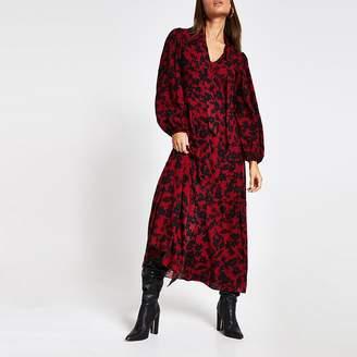 River Island Red floral print tie V neck midi dress