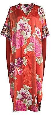 Natori Women's Fusion Floral Zip-Up Caftan