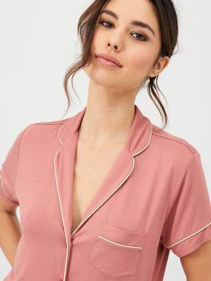Very Short Sleeve Jersey Revere Pyjamas - Rose