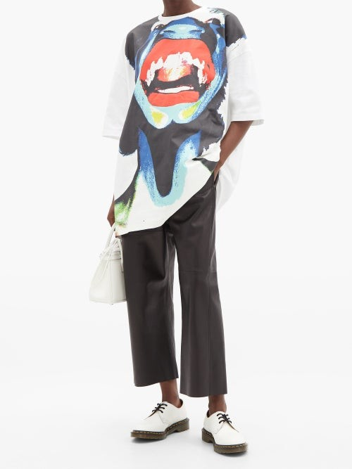 Thumbnail for your product : Charles Jeffrey Loverboy Abstract Face-print Oversized Cotton T-shirt - White Multi