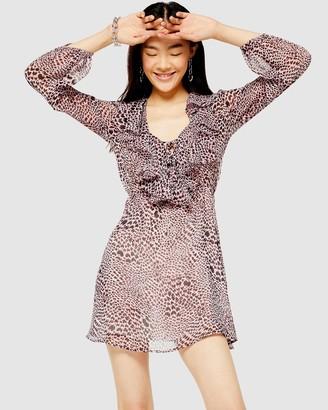 Topshop Heart Animal Ruffle Mini Dress