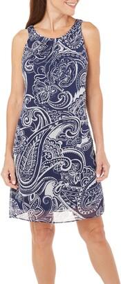 Robbie Bee Women's Missy Print Chiffon Dress