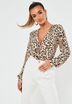 Missguided Brown Animal Print Button Front Bodysuit