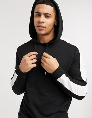 Asos DESIGN hoodie in black with side stripe