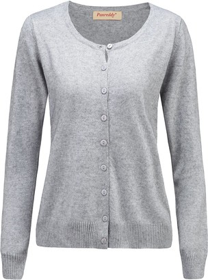 Panreddy Women's Wool Cashmere Classic Cardigan Sweater S Grey