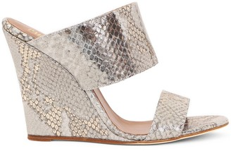 Paris Texas Embossed Wedge Mules