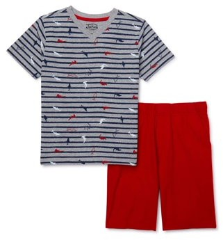 Jake's Vintage Boys Short Sleeve T-Shirt & Pull On Twill Shorts, 2-Piece Outfit Set, Sizes 4-12