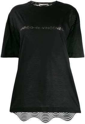 Marco De Vincenzo crystal embellished logo t-shirt