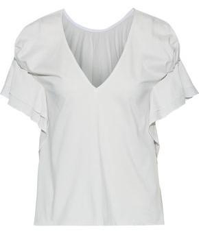 ADEAM Ruffle-trimmed Striped Cotton-jersey T-shirt