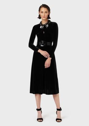 Emporio Armani Chenille Jersey Midi Dress With Bow