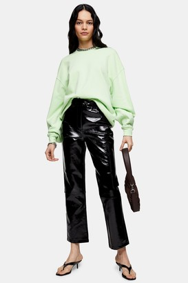 Topshop Black Vinyl Straight Leg Pants