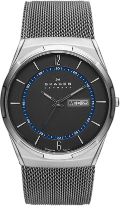 Skagen Men's Melbye Quartz Analog Stainless Steel and Stainless Steel Mesh Watch