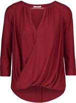 Bailey 44 Lisianthus leather-trimmed wrap-effect matte-jersey top