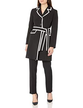 Le Suit Women's 3 Button Piped Belted Crepe Topper Slim Pant Suit