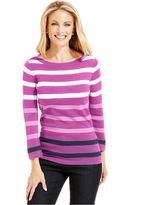 Charter Club Top, Three-Quarter-Sleeve Striped