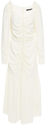 Mother of Pearl Ruched Crepe Midi Dress