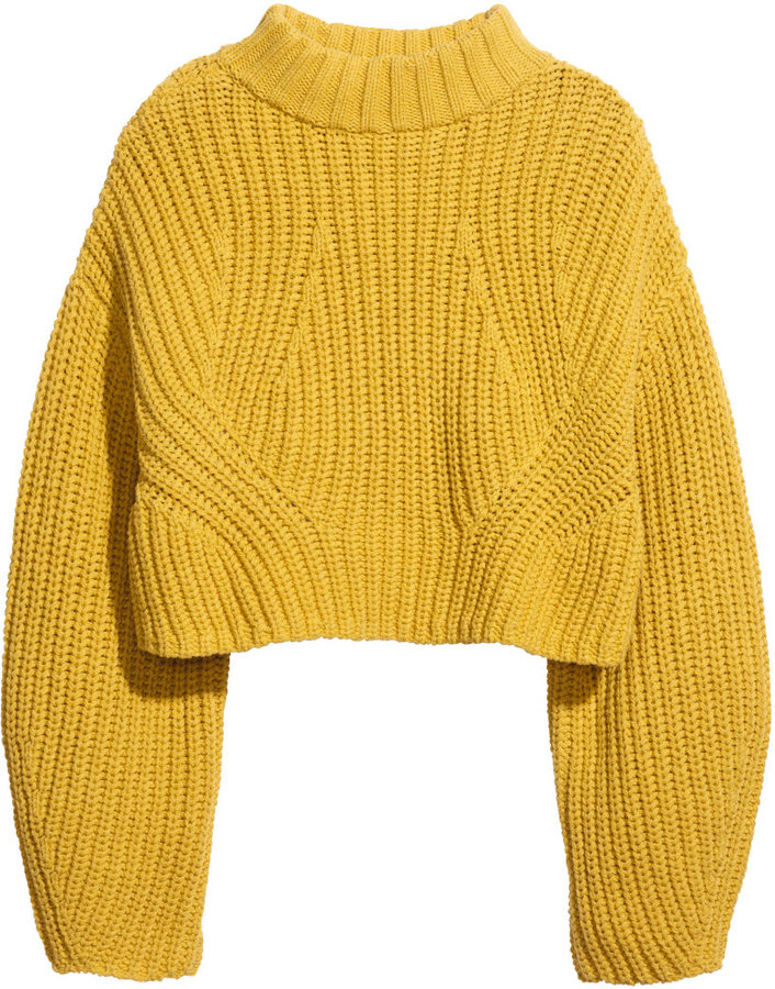 H&M Cropped Sweater - Yellow - Ladies