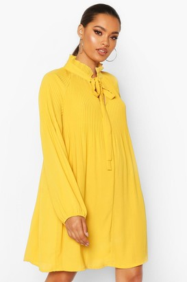 boohoo Pussy Bow Pleated Shift Dress