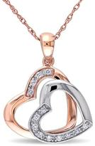 Ice Diamond Accented 10K 2-Tone Gold Dual Heart Pendant Necklace
